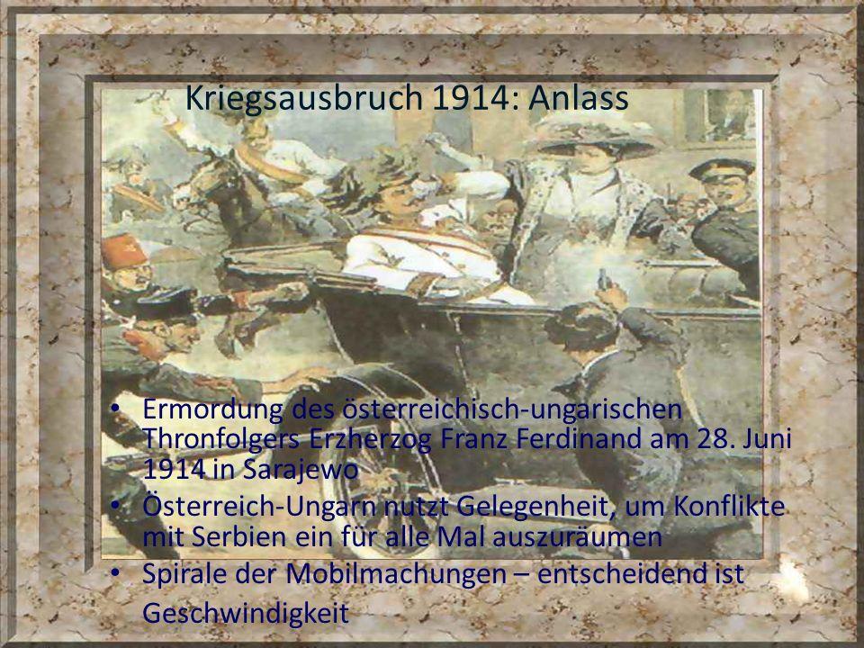 Kriegsausbruch 1914: Anlass