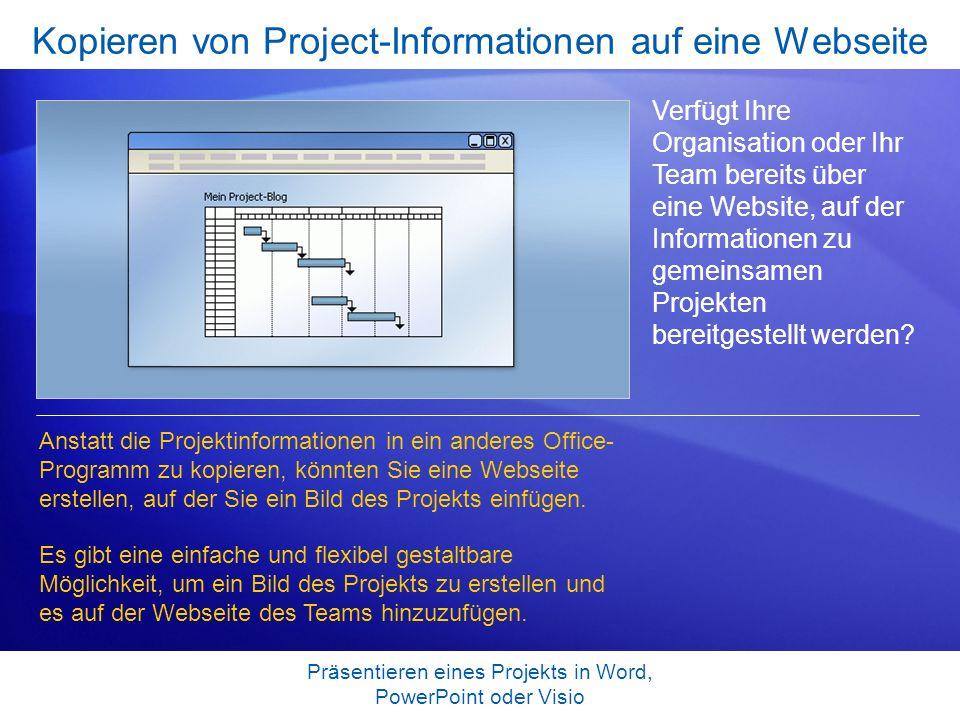 Kopieren von Project-Informationen auf eine Webseite