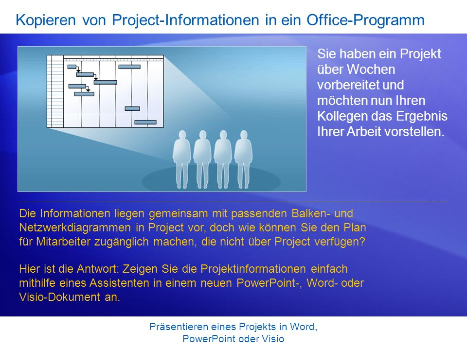 Kopieren von Project-Informationen in ein Office-Programm