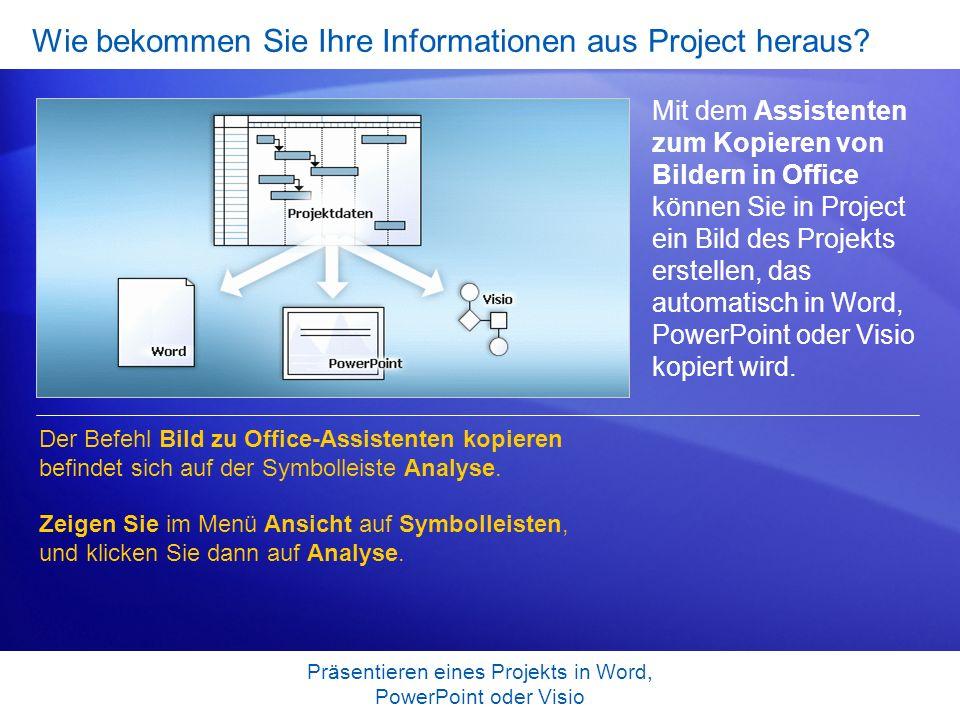 Wie bekommen Sie Ihre Informationen aus Project heraus