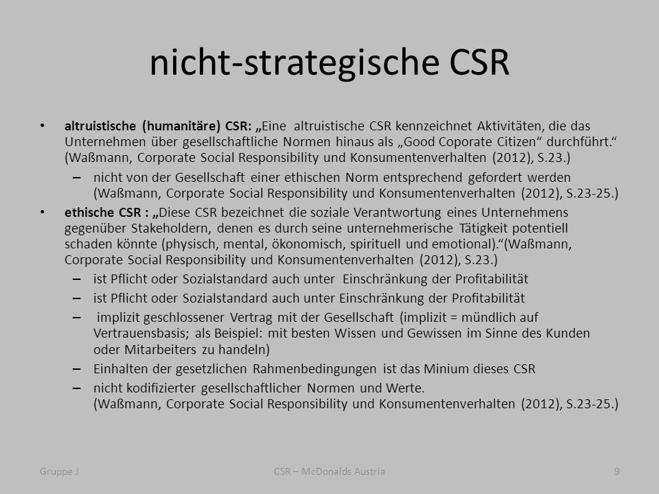 nicht-strategische CSR