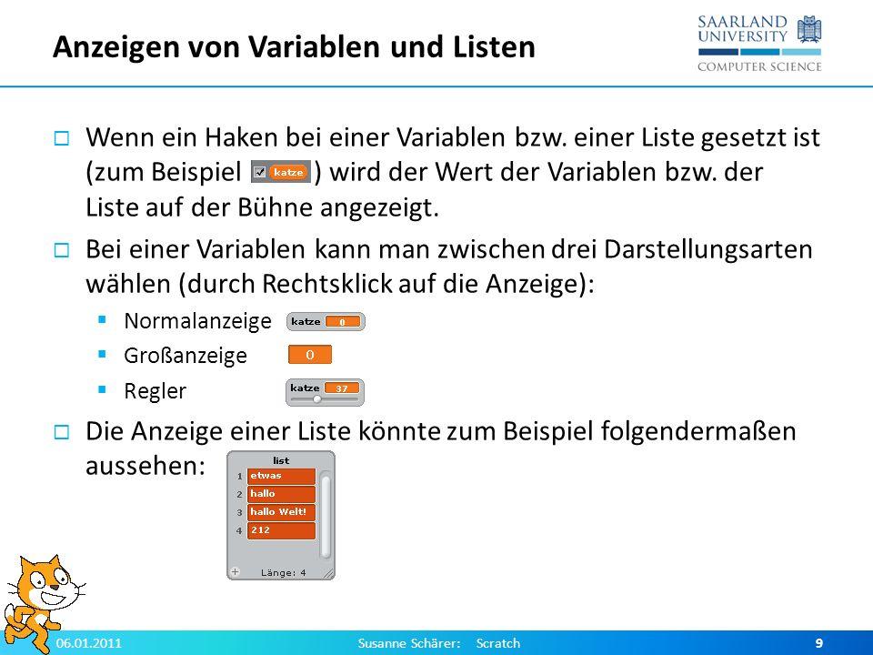 Anzeigen von Variablen und Listen