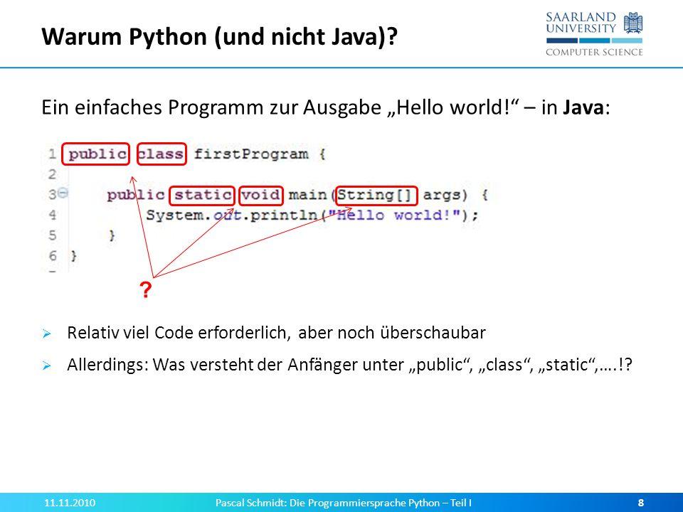 Warum Python (und nicht Java)