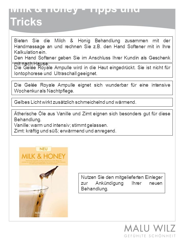 Milk & Honey - Tipps und Tricks