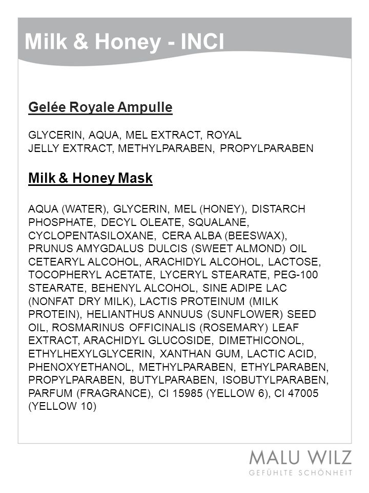 Milk & Honey - INCI Gelée Royale Ampulle Milk & Honey Mask