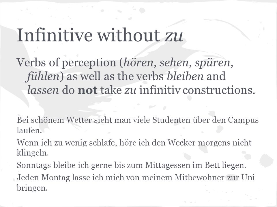 Infinitive without zu