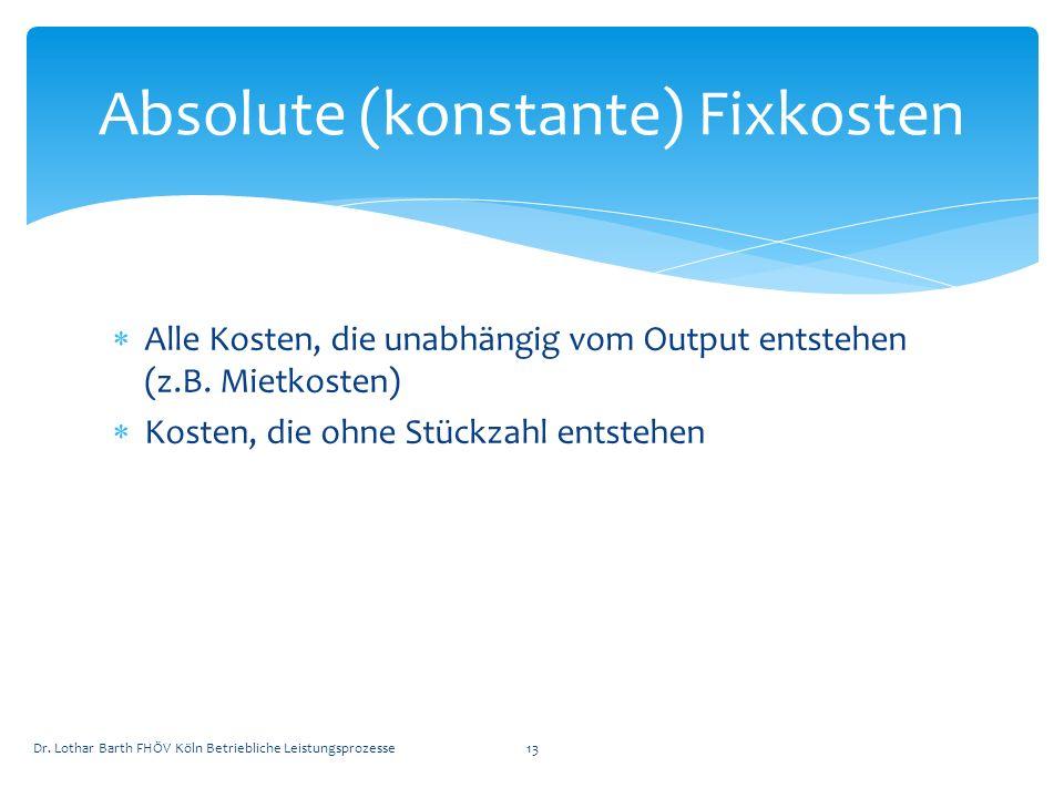 Absolute (konstante) Fixkosten
