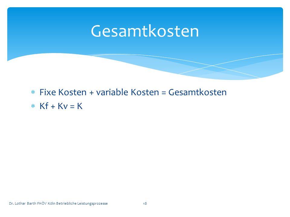 Gesamtkosten Fixe Kosten + variable Kosten = Gesamtkosten Kf + Kv = K