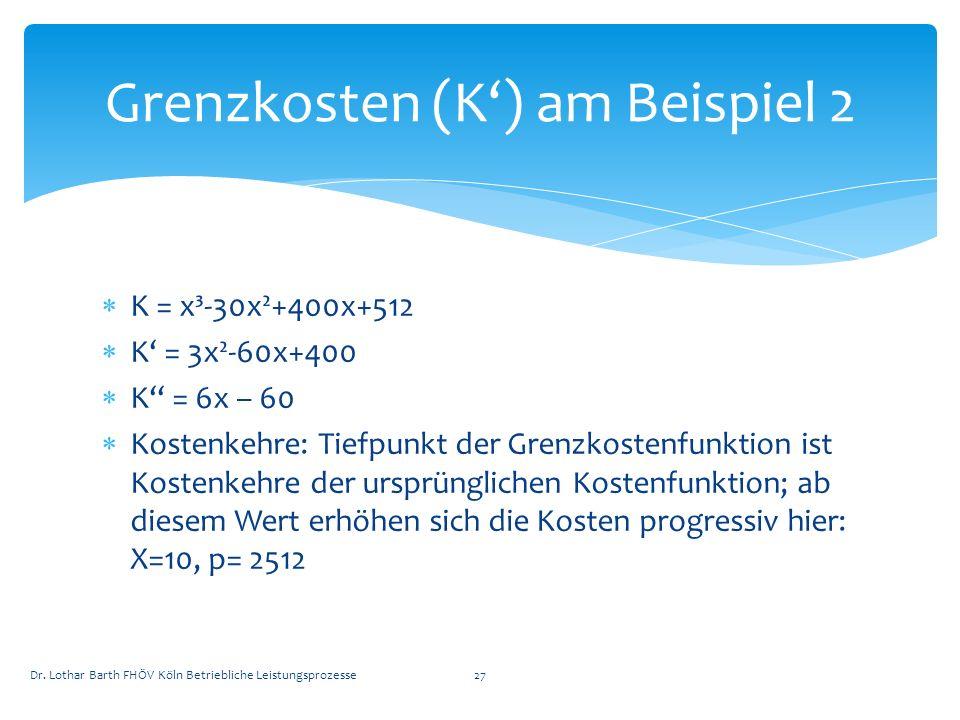 Grenzkosten (K') am Beispiel 2