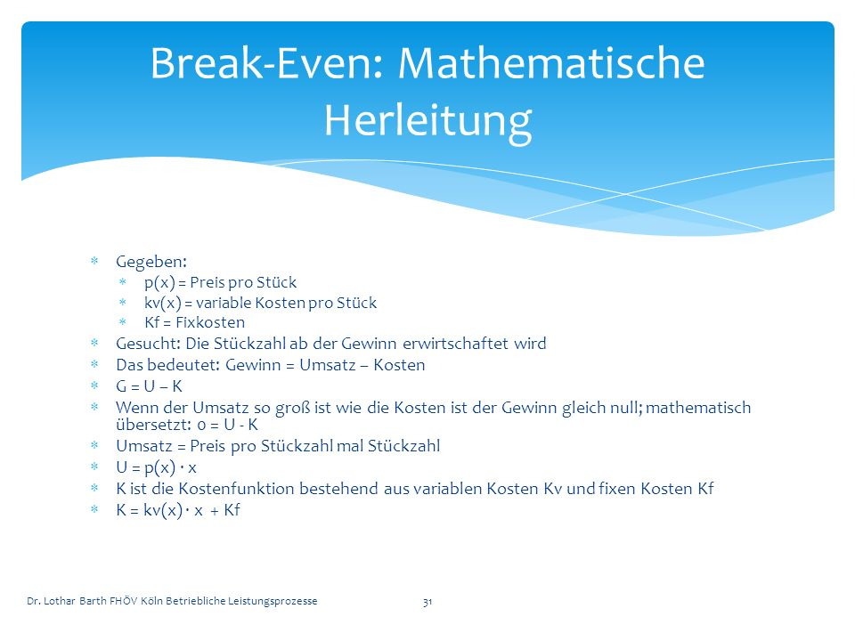 Break-Even: Mathematische Herleitung