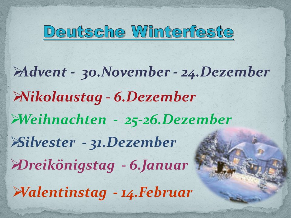 Deutsche Winterfeste Advent - 30.November - 24.Dezember