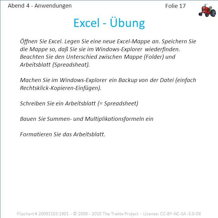 Excel - Übung Abend 4 - Anwendungen