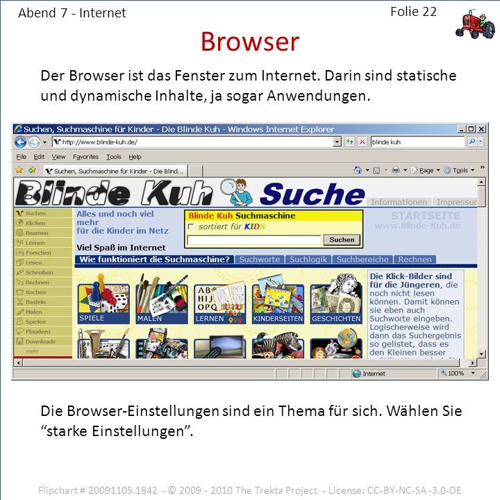 Abend 7 - Internet Browser. Der Browser ist das Fenster zum Internet. Darin sind statische und dynamische Inhalte, ja sogar Anwendungen.