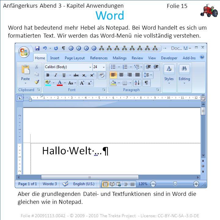 Word Anfängerkurs Abend 3 - Kapitel Anwendungen