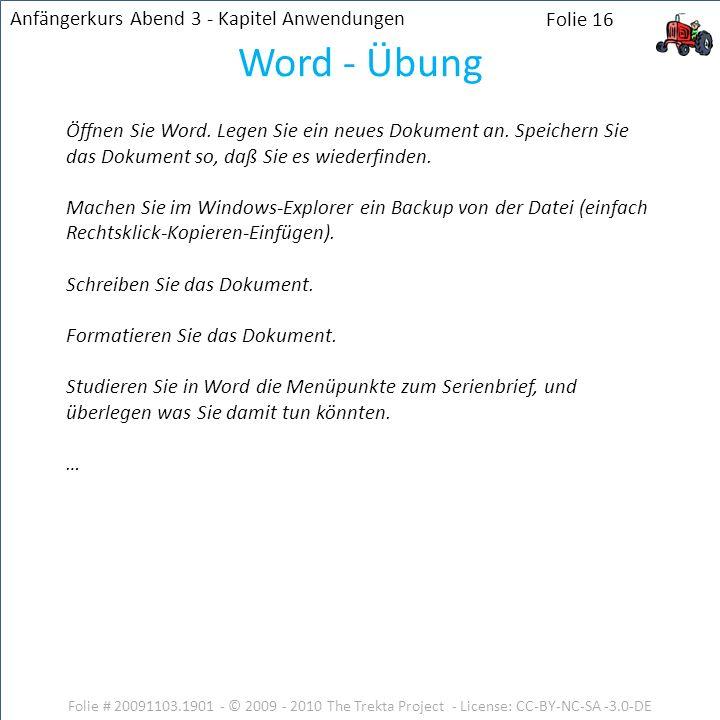 Word - Übung Anfängerkurs Abend 3 - Kapitel Anwendungen