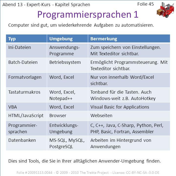 Programmiersprachen 1 Abend 13 - Expert-Kurs - Kapitel Sprachen