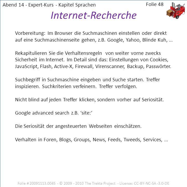 Internet-Recherche Abend 14 - Expert-Kurs - Kapitel Sprachen