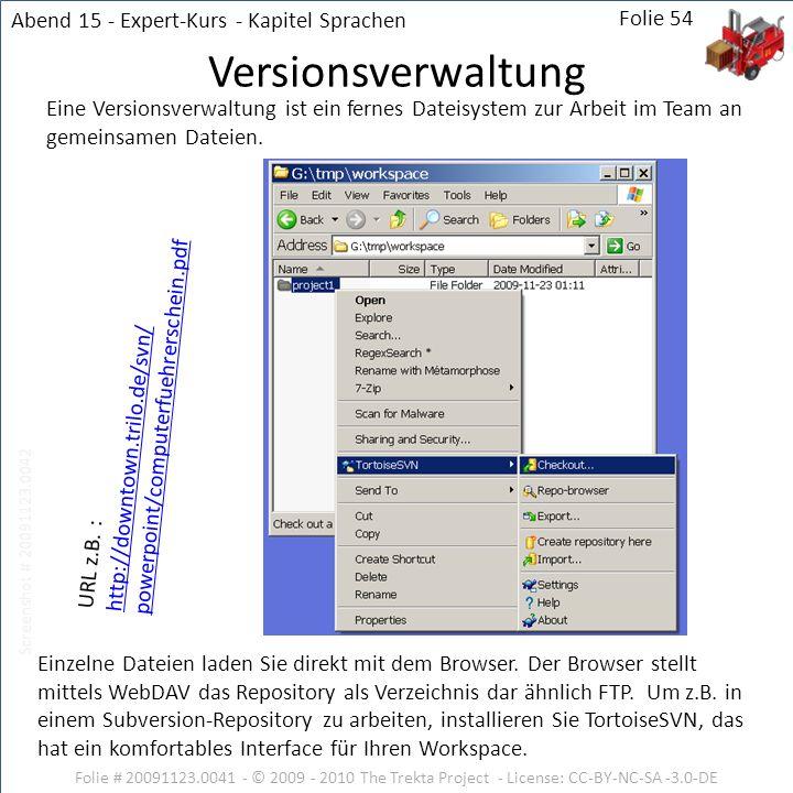 Versionsverwaltung Abend 15 - Expert-Kurs - Kapitel Sprachen Folie 54