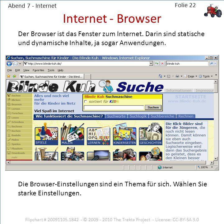 Abend 7 - Internet Internet - Browser. Der Browser ist das Fenster zum Internet. Darin sind statische und dynamische Inhalte, ja sogar Anwendungen.