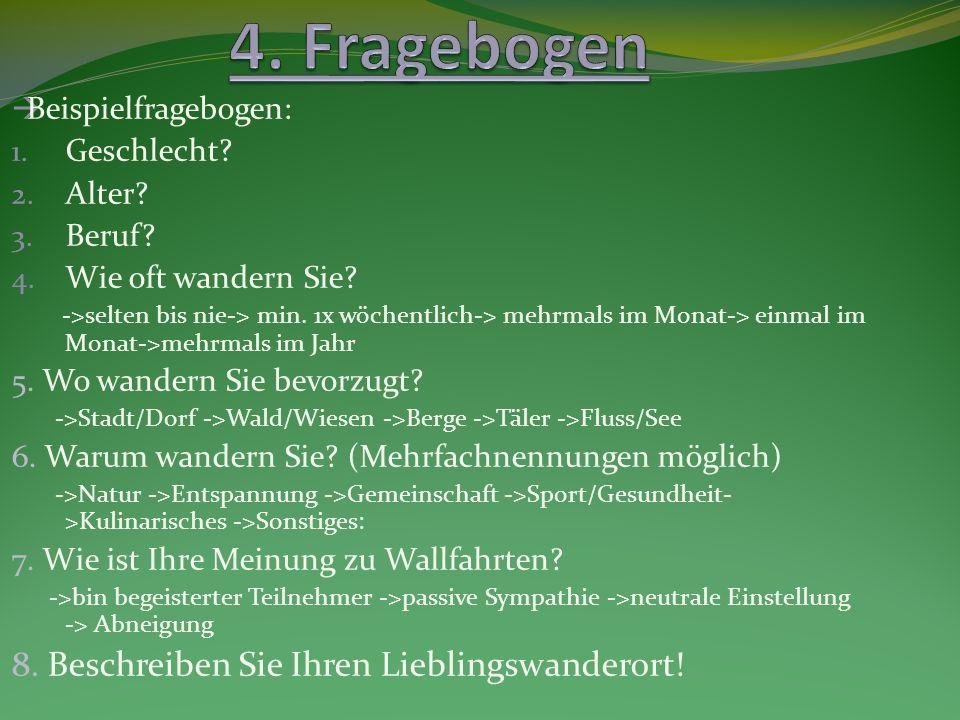 4. Fragebogen 8. Beschreiben Sie Ihren Lieblingswanderort!