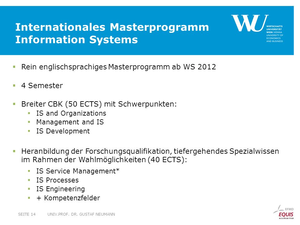 Internationales Masterprogramm Information Systems