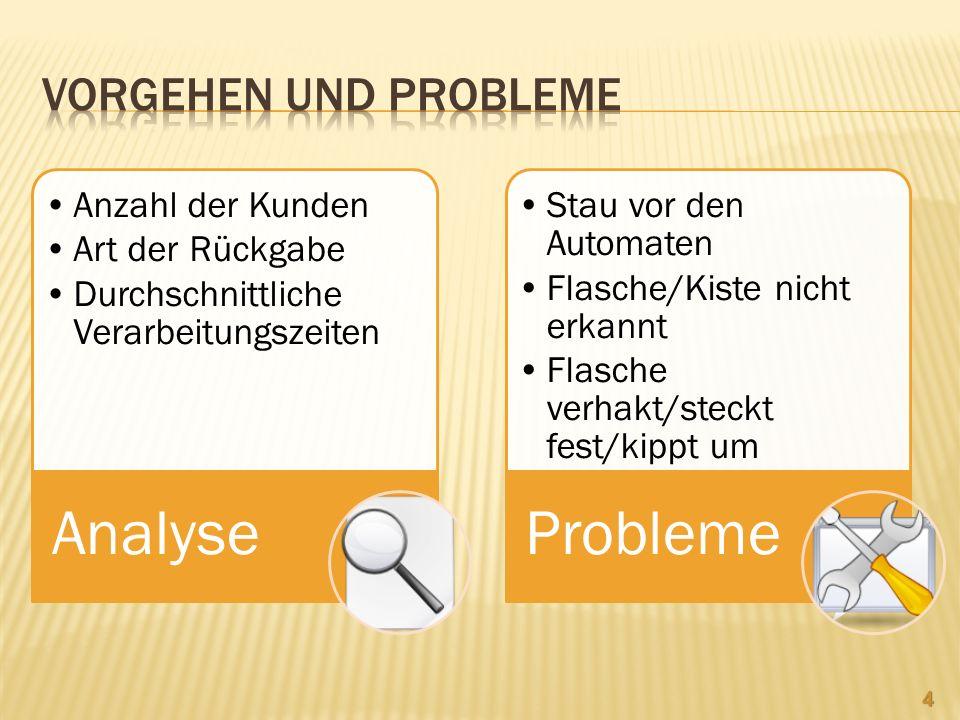 Vorgehen und Probleme Analyse Anzahl der Kunden Art der Rückgabe