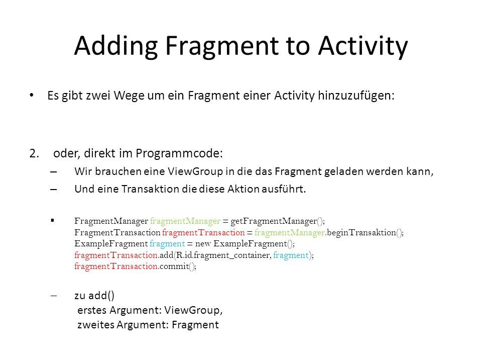 Adding Fragment to Activity