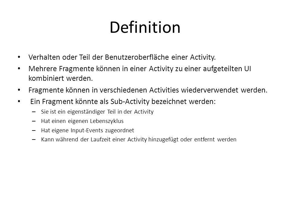 Definition Verhalten oder Teil der Benutzeroberfläche einer Activity.