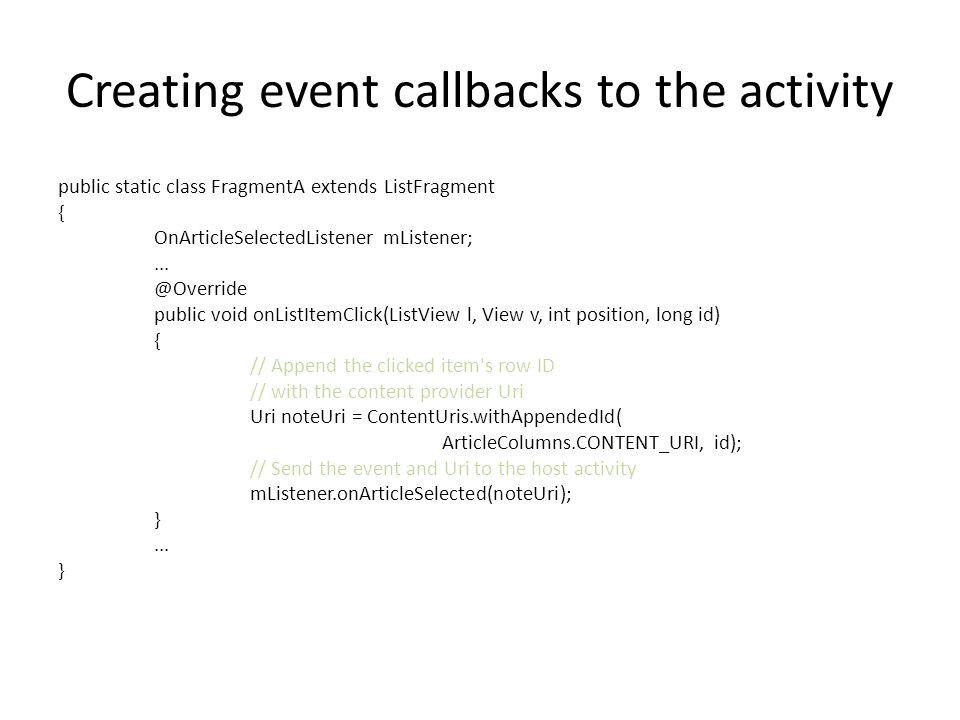 Creating event callbacks to the activity