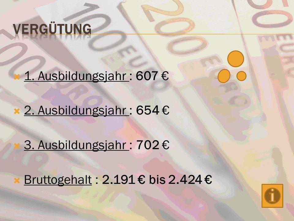 Vergütung 1. Ausbildungsjahr : 607 € 2. Ausbildungsjahr : 654 €