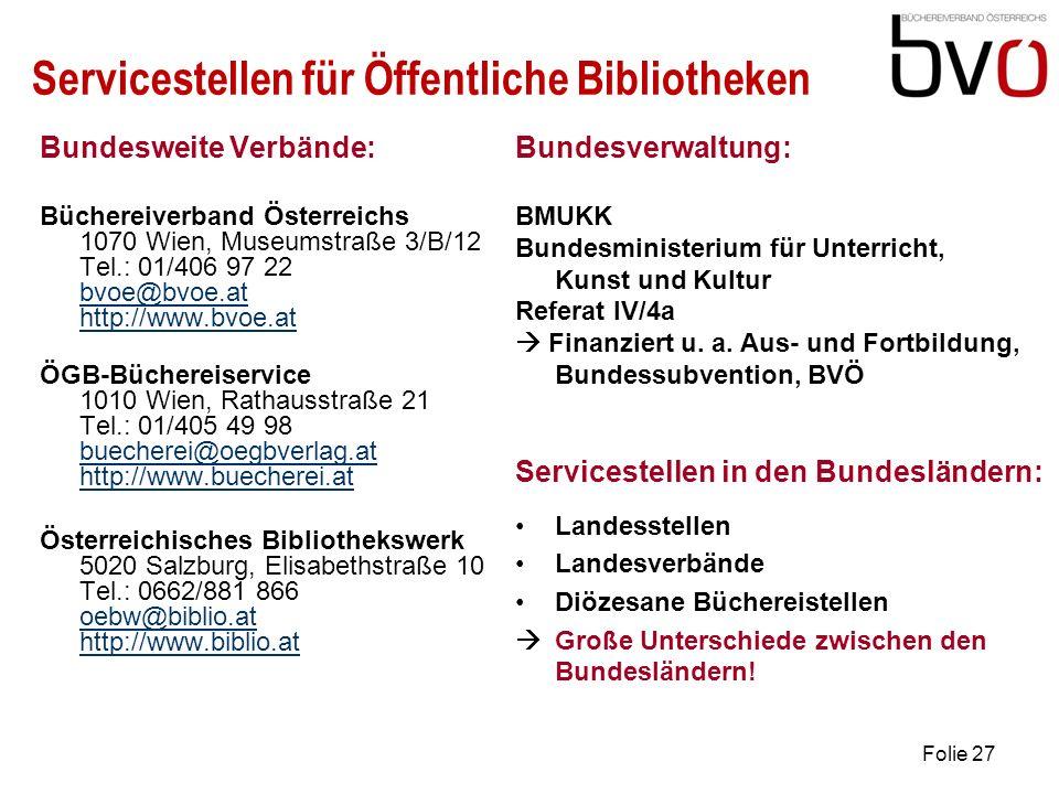 Servicestellen für Öffentliche Bibliotheken