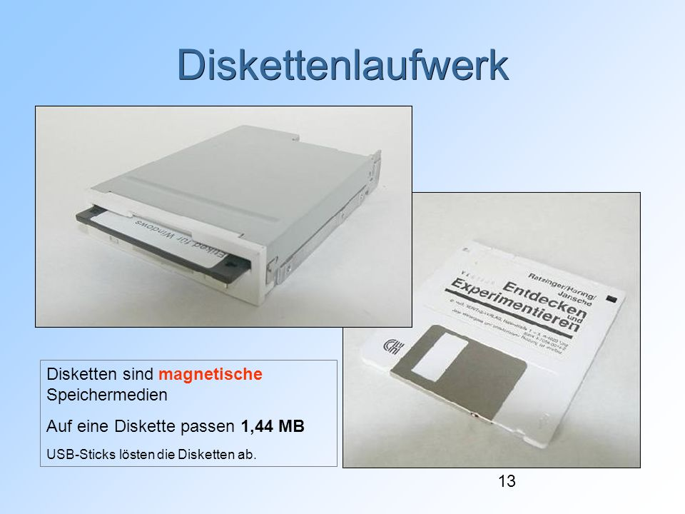Diskettenlaufwerk Disketten sind magnetische Speichermedien