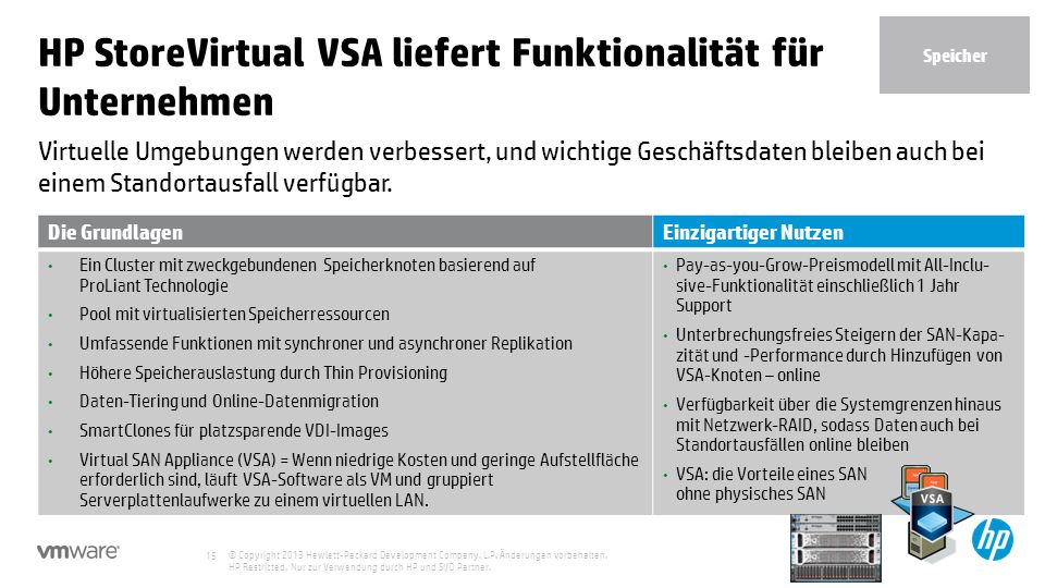 HP StoreVirtual VSA liefert Funktionalität für Unternehmen