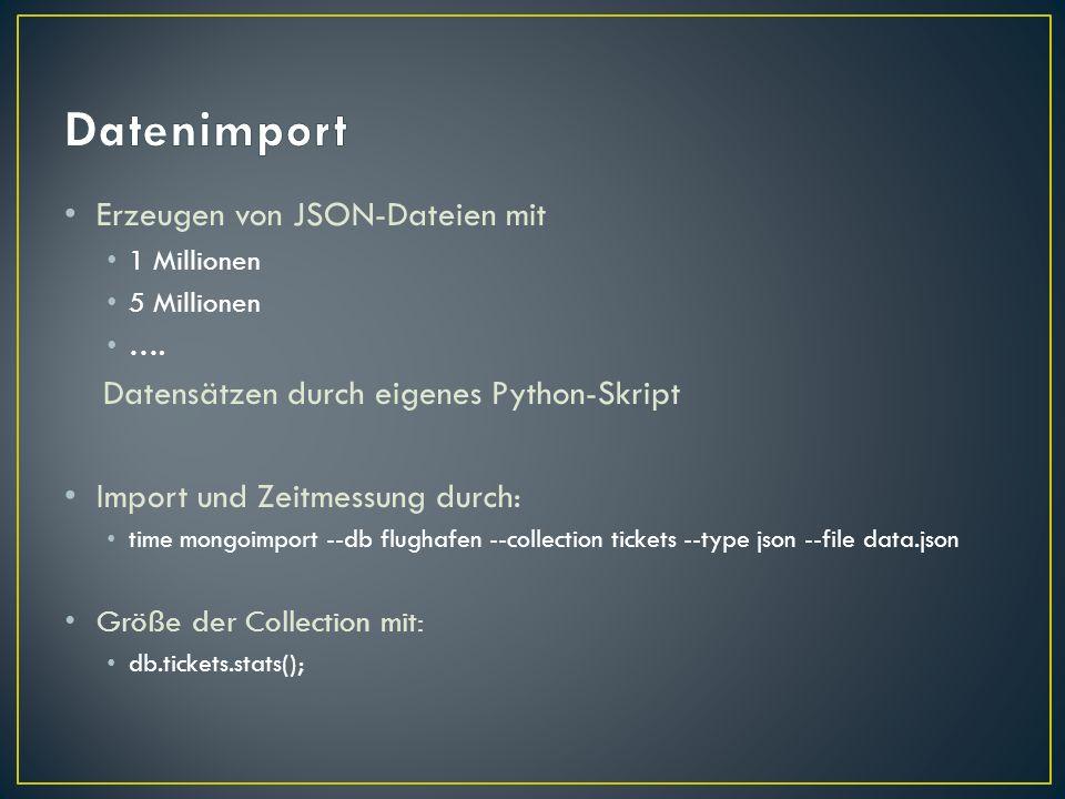 Datenimport Erzeugen von JSON-Dateien mit