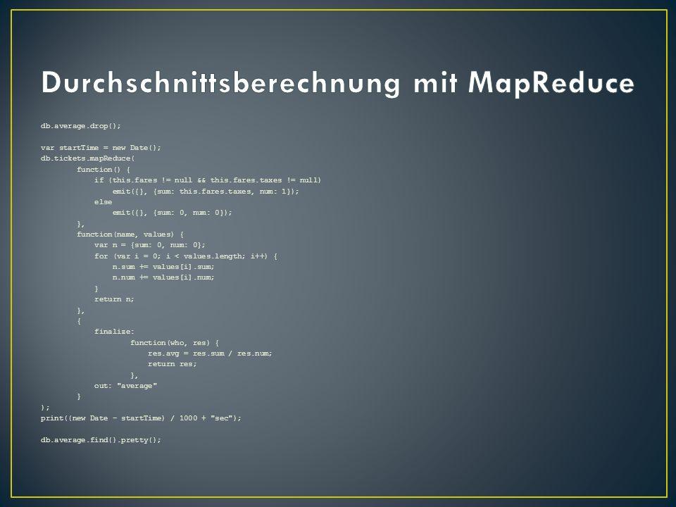 Durchschnittsberechnung mit MapReduce