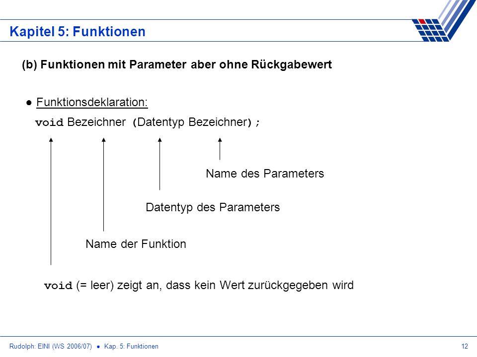 Kapitel 5: Funktionen (b) Funktionen mit Parameter aber ohne Rückgabewert. Funktionsdeklaration: void Bezeichner (Datentyp Bezeichner);