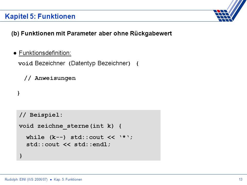 Kapitel 5: Funktionen (b) Funktionen mit Parameter aber ohne Rückgabewert.