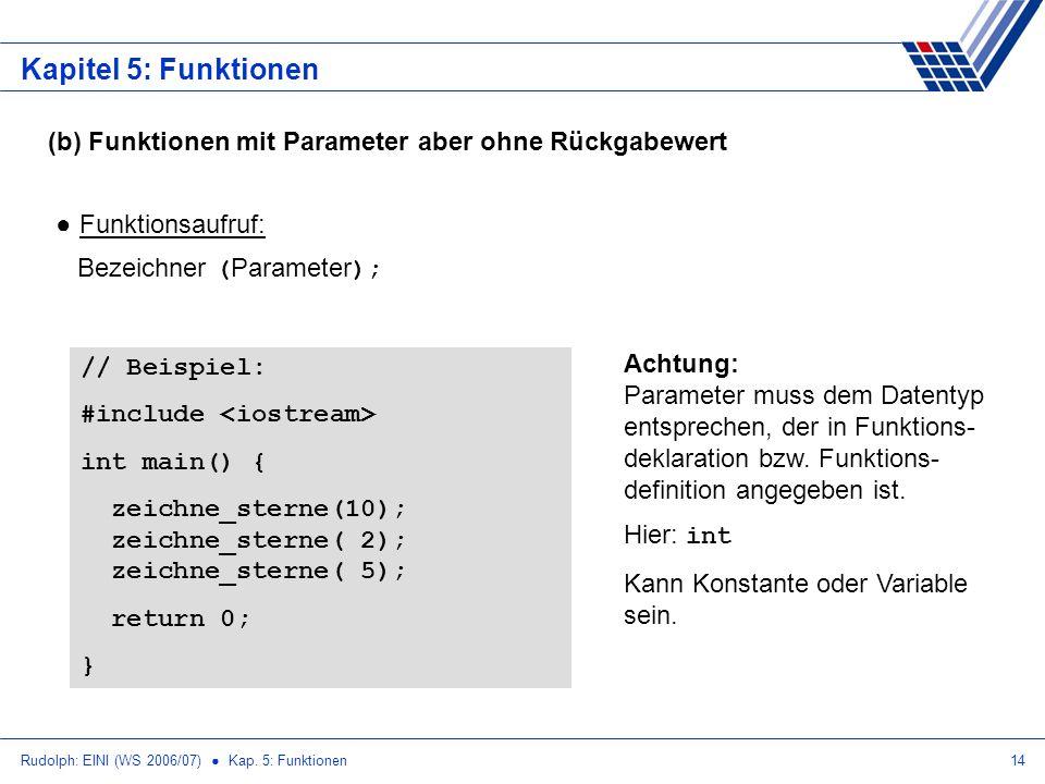 Kapitel 5: Funktionen (b) Funktionen mit Parameter aber ohne Rückgabewert. Funktionsaufruf: Bezeichner (Parameter);