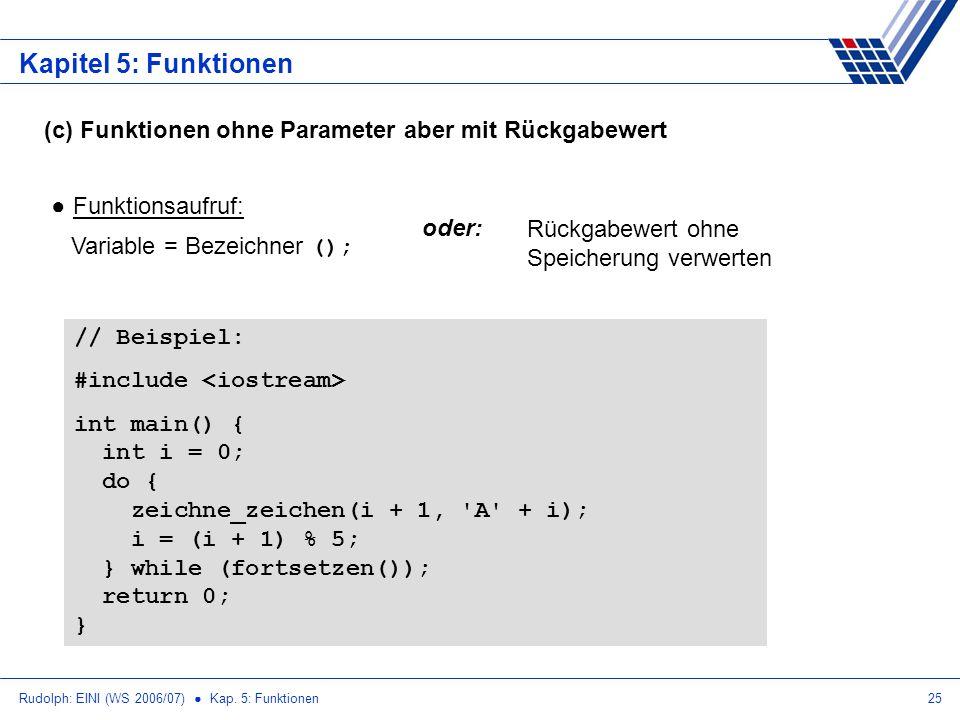 Kapitel 5: Funktionen (c) Funktionen ohne Parameter aber mit Rückgabewert. Funktionsaufruf: Variable = Bezeichner ();