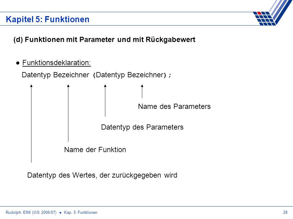Kapitel 5: Funktionen (d) Funktionen mit Parameter und mit Rückgabewert. Funktionsdeklaration: Datentyp Bezeichner (Datentyp Bezeichner);