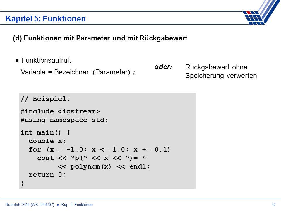 Kapitel 5: Funktionen (d) Funktionen mit Parameter und mit Rückgabewert. Funktionsaufruf: Variable = Bezeichner (Parameter);