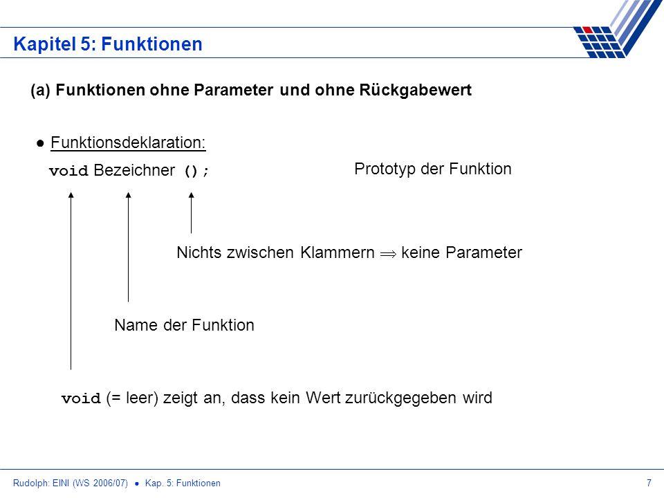 Kapitel 5: Funktionen (a) Funktionen ohne Parameter und ohne Rückgabewert. Funktionsdeklaration: void Bezeichner ();
