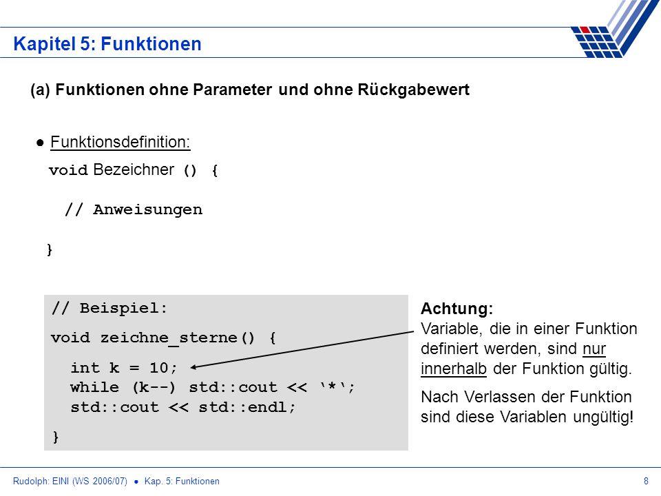 Kapitel 5: Funktionen (a) Funktionen ohne Parameter und ohne Rückgabewert. Funktionsdefinition: void Bezeichner () { // Anweisungen }