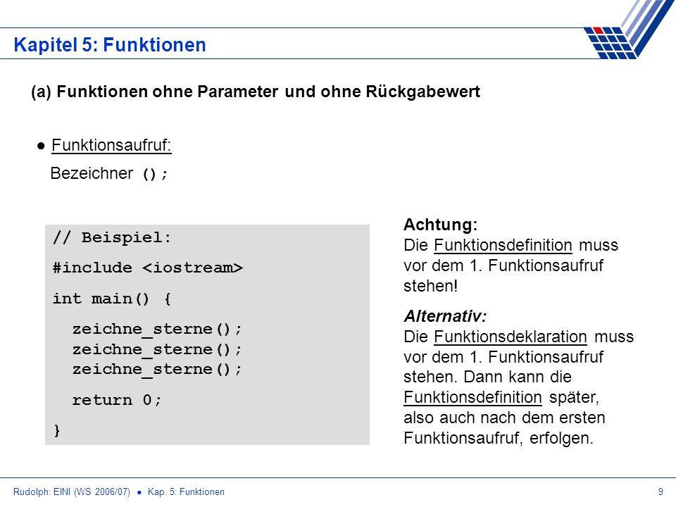 Kapitel 5: Funktionen (a) Funktionen ohne Parameter und ohne Rückgabewert. Funktionsaufruf: Bezeichner ();