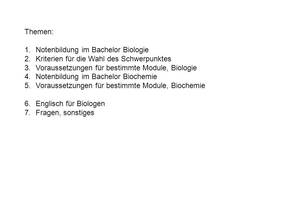 Themen:Notenbildung im Bachelor Biologie. Kriterien für die Wahl des Schwerpunktes. Voraussetzungen für bestimmte Module, Biologie.