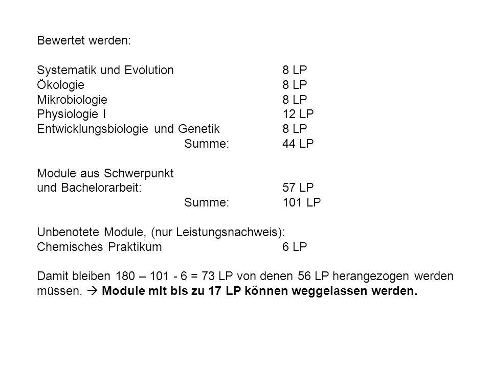 Bewertet werden:Systematik und Evolution 8 LP. Ökologie 8 LP. Mikrobiologie 8 LP. Physiologie I 12 LP.
