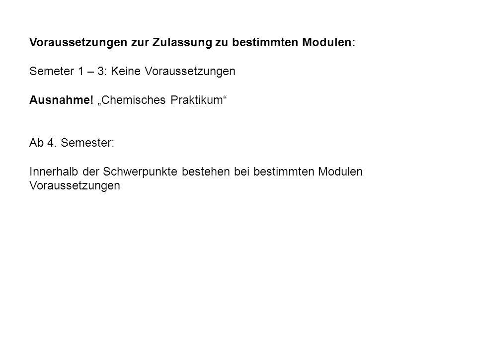 Voraussetzungen zur Zulassung zu bestimmten Modulen: