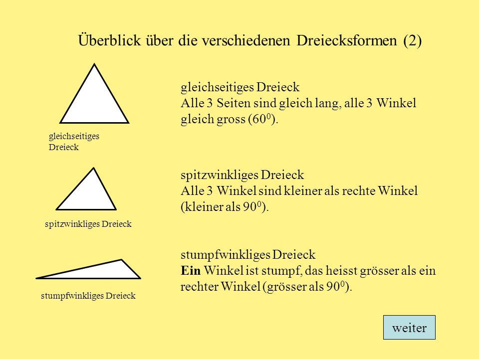 Überblick über die verschiedenen Dreiecksformen (2)