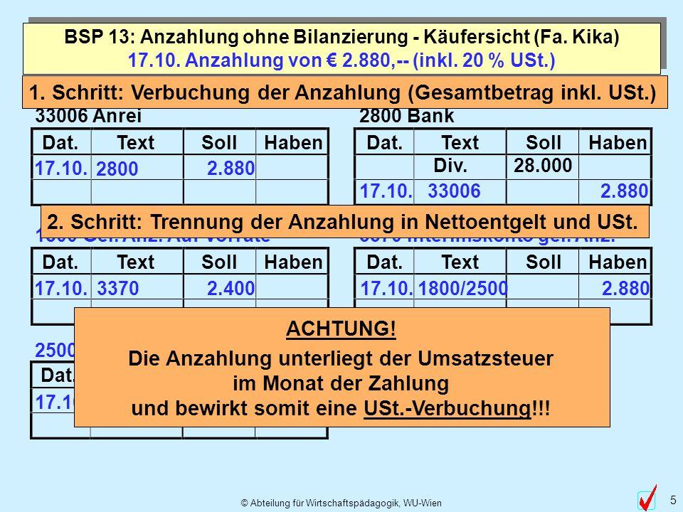 17.10. Anzahlung von € 2.880,-- (inkl. 20 % USt.)