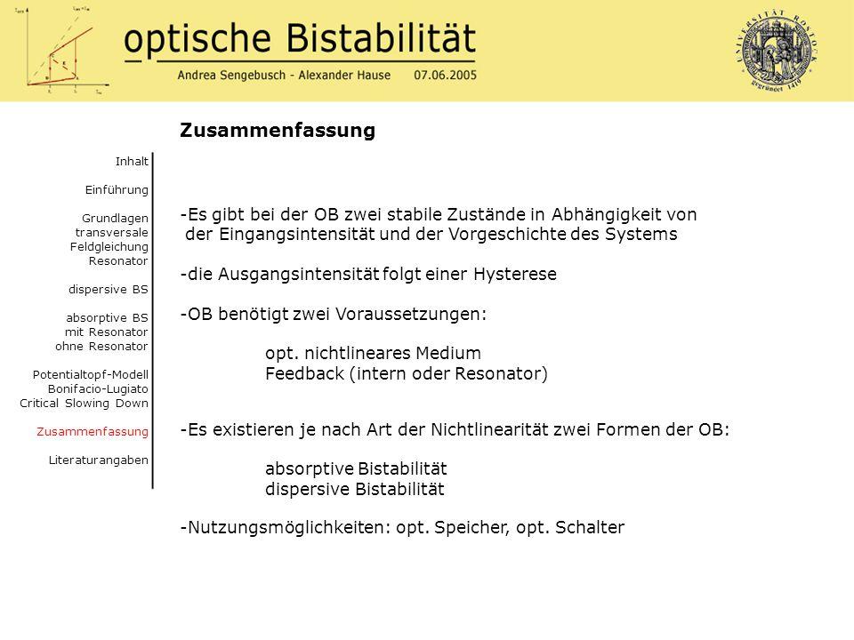 Zusammenfassung Inhalt. Einführung. Grundlagen. transversale Feldgleichung Resonator. dispersive BS.